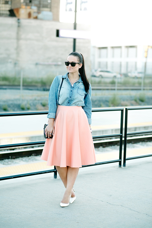 midi skirt and chambray shirt eleventh sixteenth